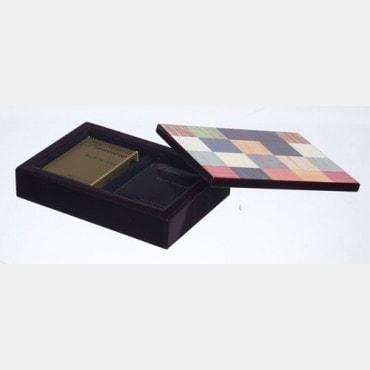 Coffret bois + 2 jeux cartes COF2508 Feuilles et carnets de marque