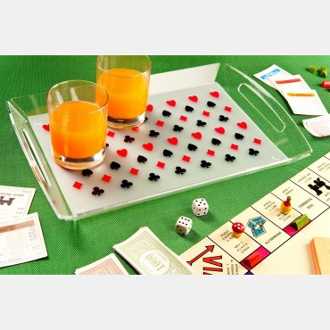 Plateau rectangulaire en plexiglas décor cartes à jouer VAI1160 Accessoires et goodies