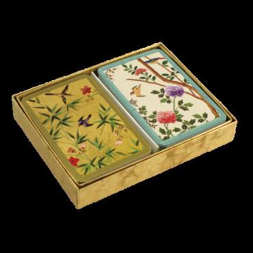 Coffret de 2 jeux de cartes Caspari Papier peint chinois CAR32007 Cartes