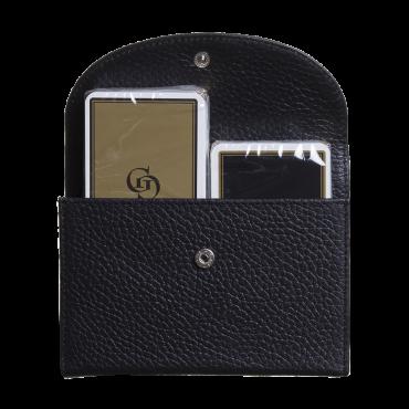 Étui de cartes en cuir noir COF20001 Cartes à jouer